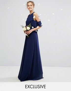 photo Frill Detail Maxi Dress by TFNC WEDDING, color Navy - Image 1