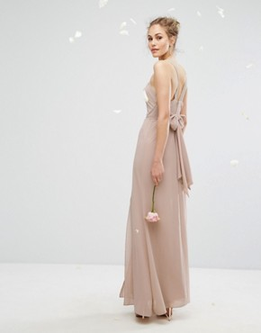 photo Chiffon Maxi Dress with Tonal Embellishment and Tie Detail by TFNC WEDDING, color Mink - Image 2