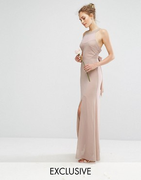 photo Chiffon Maxi Dress with Tonal Embellishment and Tie Detail by TFNC WEDDING, color Mink - Image 1
