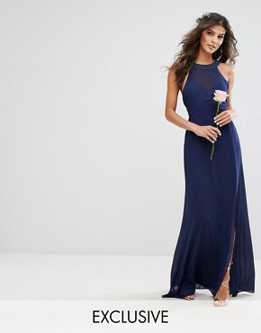 photo Chiffon Maxi Dress with Tonal Embellishment and Tie Detail by TFNC WEDDING, color Navy - Image 1