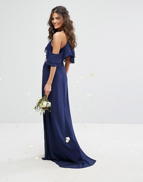 photo Frill Detail Maxi Dress with Embellished Waist and Fishtail by TFNC WEDDING, color Navy - Image 2