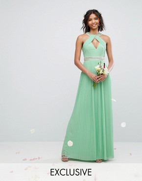 photo High Neck Maxi Dress with Pleat Detail by TFNC WEDDING, color Sage Green - Image 1