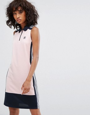 photo Osaka Sleeveless Polo Dress in Pale Pink by Adidas Originals, color Pink - Image 1