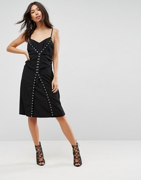 photo Slip Dress with Hardware Detail by ASOS, color Black - Image 1