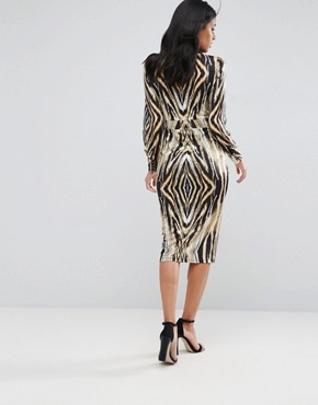 photo Button Up Animal Print Midi Dress by Forever Unique, color Multi - Image 2