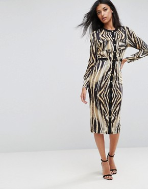photo Button Up Animal Print Midi Dress by Forever Unique, color Multi - Image 1