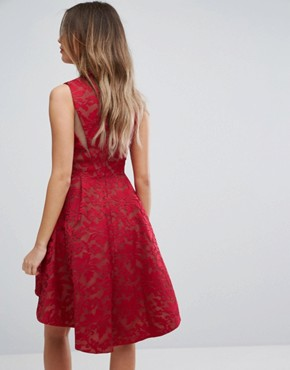 photo Lace Hi Low Hemmed Dress by Forever Unique, color Red - Image 2