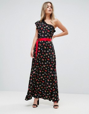 photo One Shoulder Ditsy Maxi Tea Dress with Grosgrain Belt by ASOS, color Multi - Image 1