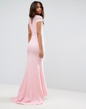 photo Fishtail Maxi Dress with Lace Detail by City Goddess Tall, color Pink - Image 2