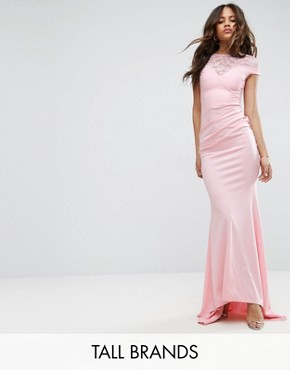 photo Fishtail Maxi Dress with Lace Detail by City Goddess Tall, color Pink - Image 1