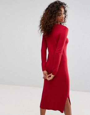 photo Midi Knit Dress by Esprit, color Red - Image 2