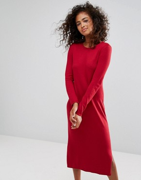 photo Midi Knit Dress by Esprit, color Red - Image 1