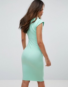photo Pleat Detail Midi Dress by City Goddess Tall, color Mint - Image 2