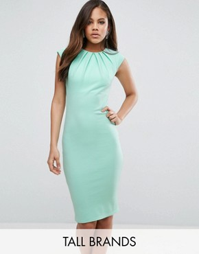 photo Pleat Detail Midi Dress by City Goddess Tall, color Mint - Image 1