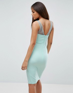 photo Wrap Front Midi Dress with Mesh Panel by City Goddess Tall, color Mint - Image 2