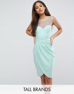 photo Wrap Front Midi Dress with Mesh Panel by City Goddess Tall, color Mint - Image 1