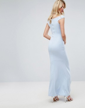 photo Bandeau Fishtail Maxi Dress by City Goddess Tall, color Powder Blue - Image 2