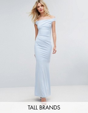photo Bandeau Fishtail Maxi Dress by City Goddess Tall, color Powder Blue - Image 1