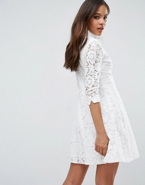 photo Skater Shirt Dress in All Over Lace by City Goddess Tall, color White - Image 2