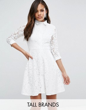 photo Skater Shirt Dress in All Over Lace by City Goddess Tall, color White - Image 1