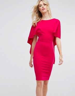 photo Midi Dress with Ruffle Sleeve by City Goddess Tall, color Cerise - Image 2