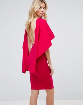 photo Midi Dress with Ruffle Sleeve by City Goddess Tall, color Cerise - Image 1