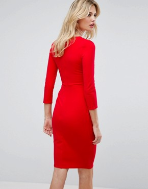 photo 3/4 Sleeve Pleat Detail Midi Dress by City Goddess Tall, color Red - Image 2