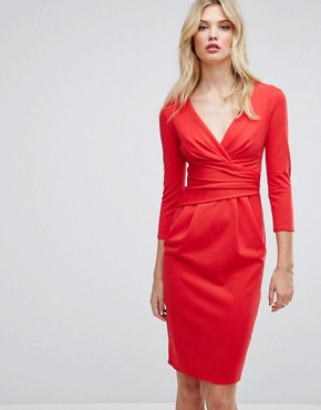 photo 3/4 Sleeve Pleat Detail Midi Dress by City Goddess Tall, color Red - Image 1