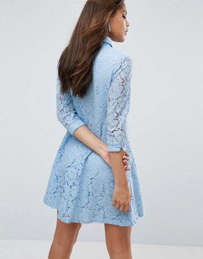 photo Skater Shirt Dress in All Over Lace by City Goddess Tall, color Powder Blue - Image 2