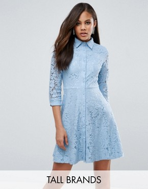 photo Skater Shirt Dress in All Over Lace by City Goddess Tall, color Powder Blue - Image 1