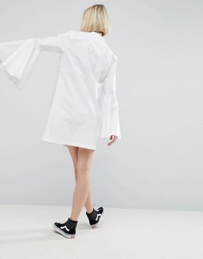 photo Bell Sleeve Mini Shirt Dress by ASOS WHITE, color White - Image 2