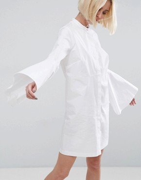 photo Bell Sleeve Mini Shirt Dress by ASOS WHITE, color White - Image 1