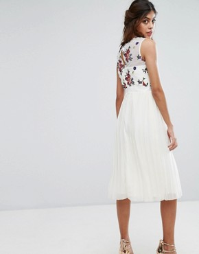 photo Midi Dress with Embroidered Bodice by Little Mistress, color Cream - Image 2