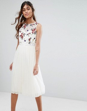 photo Midi Dress with Embroidered Bodice by Little Mistress, color Cream - Image 1