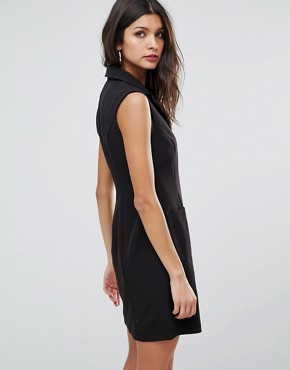photo Zip Up Mini Tux Dress with Pocket Detail by ASOS, color Black - Image 2
