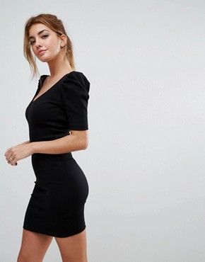 photo Mini Bodycon Dress in Premium Rib with Shoulder Detail by ASOS, color Black - Image 2