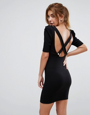 photo Mini Bodycon Dress in Premium Rib with Shoulder Detail by ASOS, color Black - Image 1