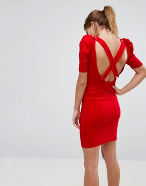 photo Mini Bodycon Dress in Premium Rib with Shoulder Detail by ASOS, color Red - Image 1