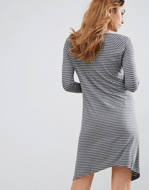 photo Janey Maternity Striped Tunic by Isabella Oliver, color Grey Marl Stripe - Image 2