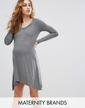 photo Janey Maternity Striped Tunic by Isabella Oliver, color Grey Marl Stripe - Image 1