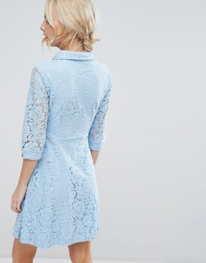 photo Skater Shirt Dress in All Over Lace by City Goddess Petite, color Powder Blue - Image 2
