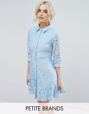photo Skater Shirt Dress in All Over Lace by City Goddess Petite, color Powder Blue - Image 1