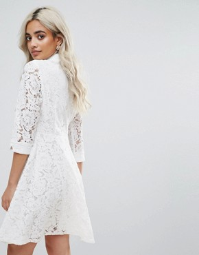 photo Skater Shirt Dress in All Over Lace by City Goddess Petite, color White - Image 2