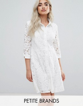 photo Skater Shirt Dress in All Over Lace by City Goddess Petite, color White - Image 1