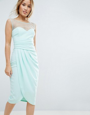 photo Wrap Front Midi Dress with Mesh Panel by City Goddess Petite, color Mint - Image 1
