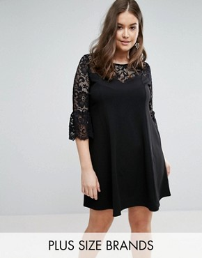 photo Skater Dress with Lace Sleeves by Praslin, color Black - Image 1