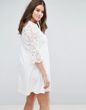 photo Skater Dress with Lace Sleeves by Praslin, color Cream - Image 2