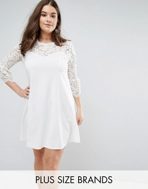 photo Skater Dress with Lace Sleeves by Praslin, color Cream - Image 1
