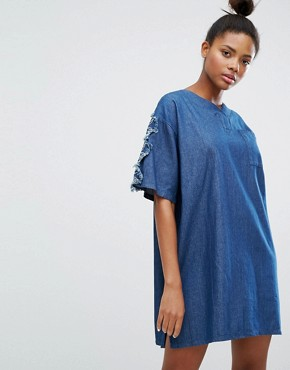 photo Denim Dress with Floral Applique Sleeves by Ziztar, color Denim Blue - Image 1