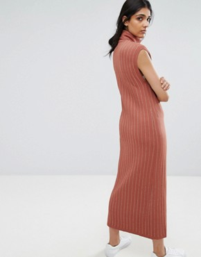 photo Fiesta Knit High Neck Maxi Dress by ADPT Tall, color Copper Brown - Image 2